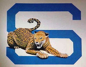 "jaguar and letter ""s"" painted wall art"