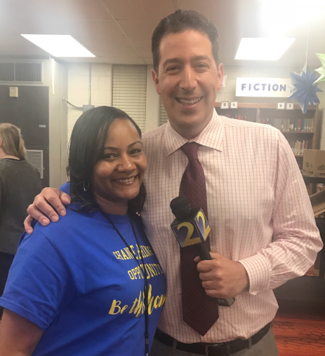 Ms Jatan with the news anchor
