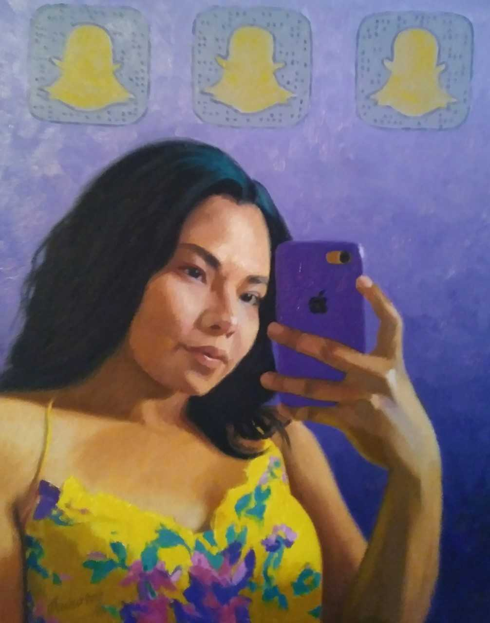 Saul Hernandez painting of a woman with cell phone