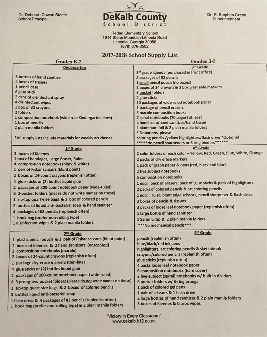supply list by grades