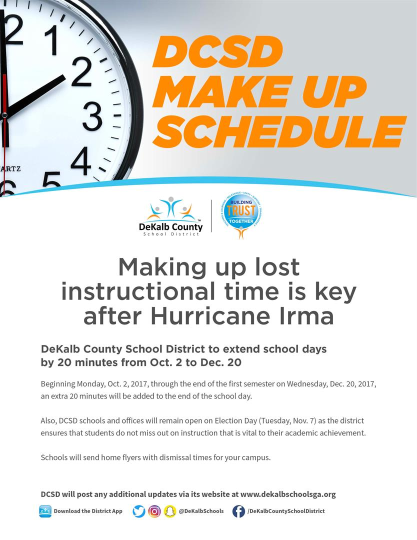 DeKalb County School District Hurricane Irma Make-Up Schedule