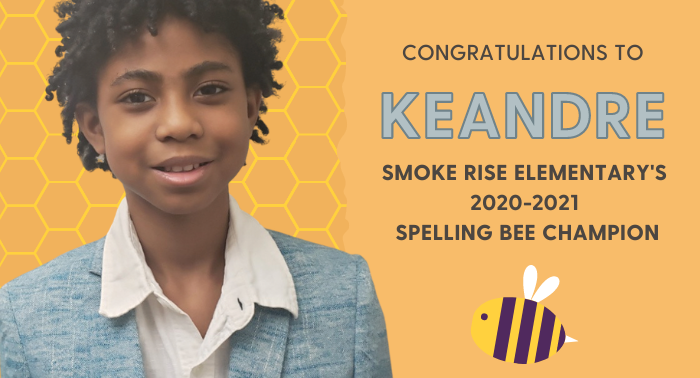 Smoke Rise Elementary Spelling Bee Champion